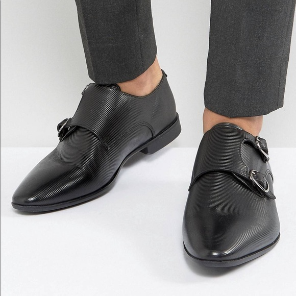 246b6cd5993e0c ASOS Monk Shoes In Black Leather w  Emboss Detail